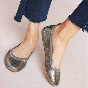 YS Yosi Samra Silver Metalin Ballerina Flats Shoes